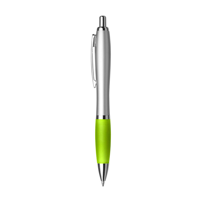 Bolígrafo plata goma color tinta azul