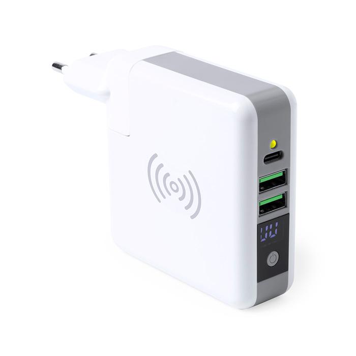 Powerbank 6700 mAh con base de carga y adaptadores de enchufe