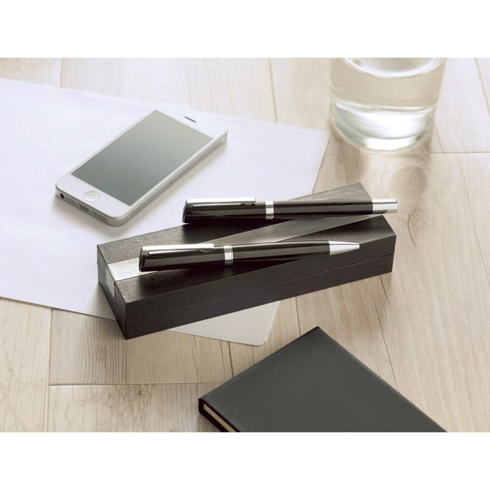 Bolígrafo y Roller en caja PU