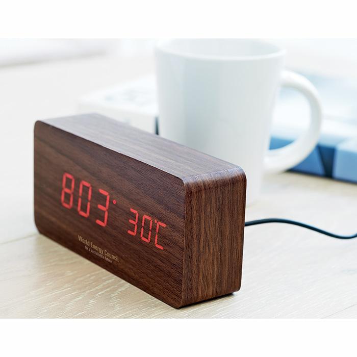 Reloj de sobremesa madera luminoso