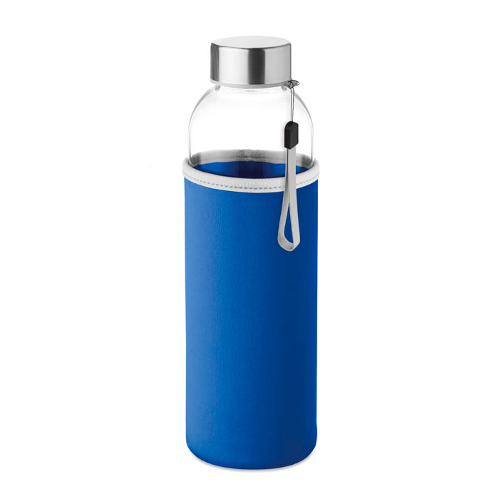 Botella cristal con funda neopreno y asa