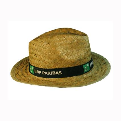 Sombrero de paja con cinta cosida y marcada mod.2