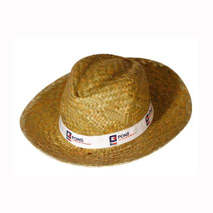 Sombrero de paja con cinta cosida y marcada mod.1