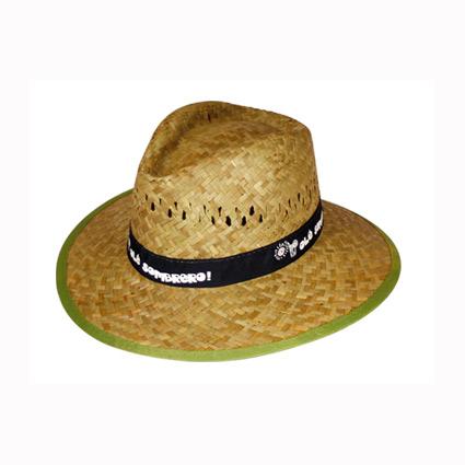 Sombrero de paja con cinta cosida y marcada mod.11