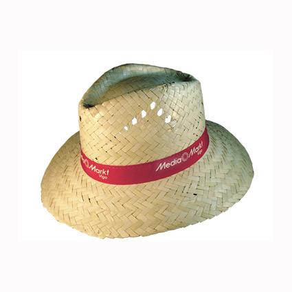 Sombrero de paja con cinta cosida y marcada mod.16