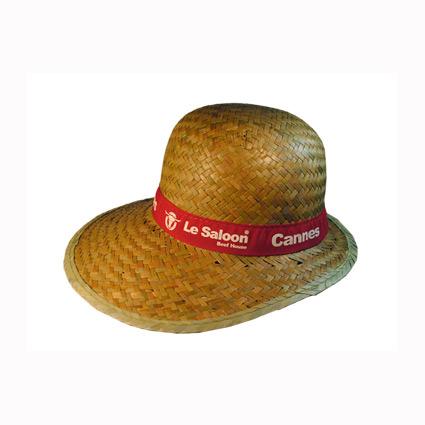 Sombrero de paja con cinta cosida y marcada mod.37