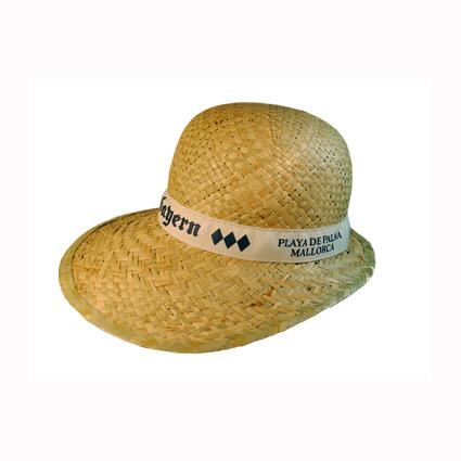 Sombrero de paja con cinta cosida y marcada mod.39