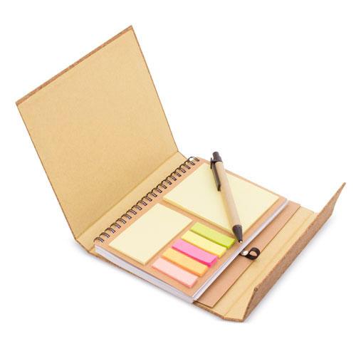 Carpetilla corcho con bloc y bolígrafo