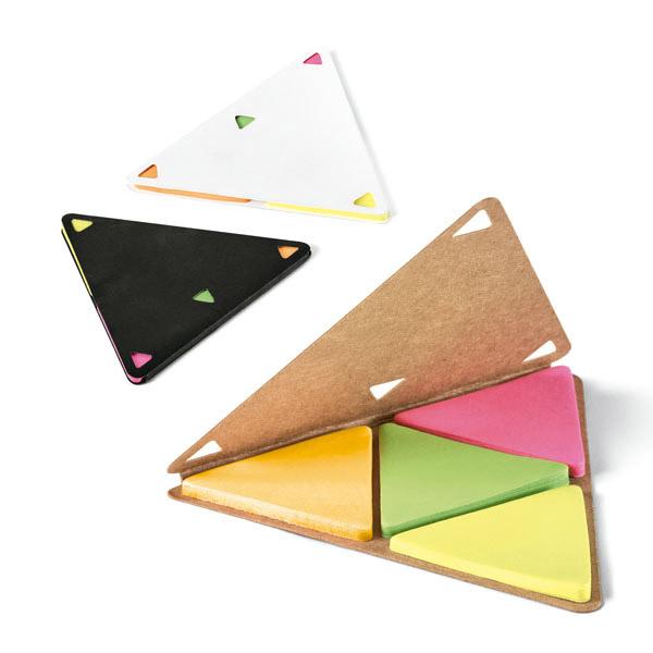 Triángulo cartón con notas adhesivas color