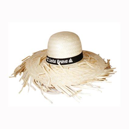 Sombrero de paja con cinta cosida y marcada mod.40