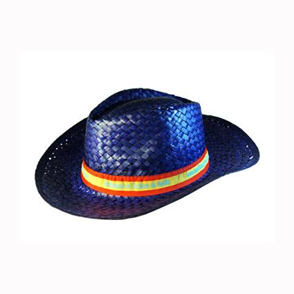 Sombrero de paja con cinta cosida y marcada mod.4